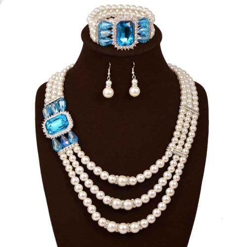 European market and the US market lower prices fashion diamond pearl inlaid gemstone three sets Bridal Jewelry Earrings Necklace Set Bracelet