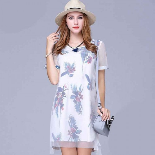 European market and the US market large size women's summer clothing new style botanical prints yarn splicing chiffon partial body fat ladies large size dress