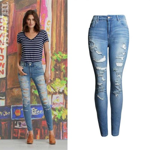 European stations jeans lady autumn new models waist Slim pencil pants trousers than Ms.