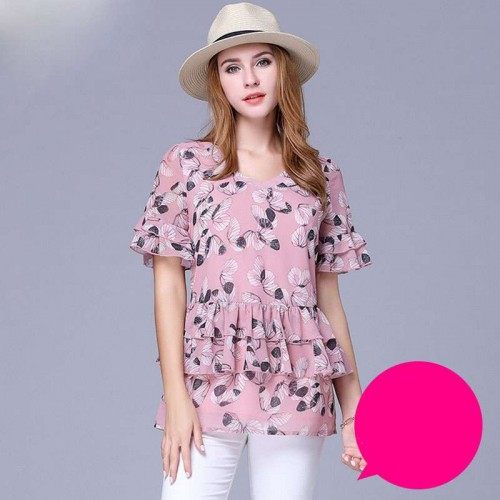 European market and the US market large size women chiffon shirt plus fertilizer to increase 200 pounds overweight ladies new models mature female young mother clothing T-shirt