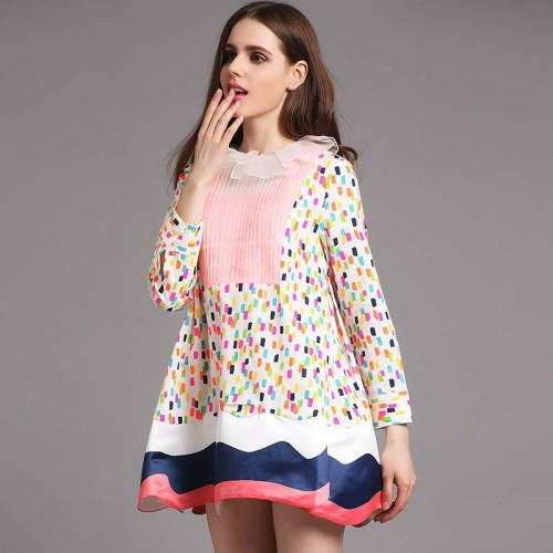 Spring new European market and the US market fashion abstract prints stitching paragraph long-sleeved dress special section