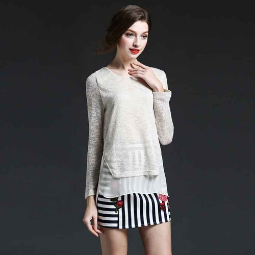 European market and the US market high-end brand Ms. Summer thin section solid knit Europe Master style shirt loose simple