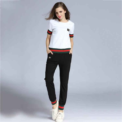 Summer new models in Europe and the US market slim pencil pants casual pants suit women solid color T-shirt suit