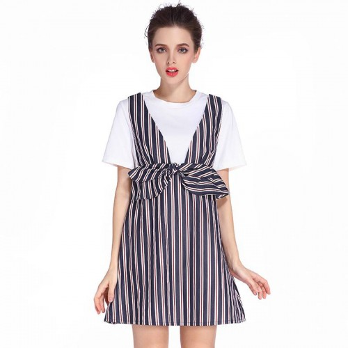 Summer new style fashion bow waist two-piece striped short-sleeved dress Ms.