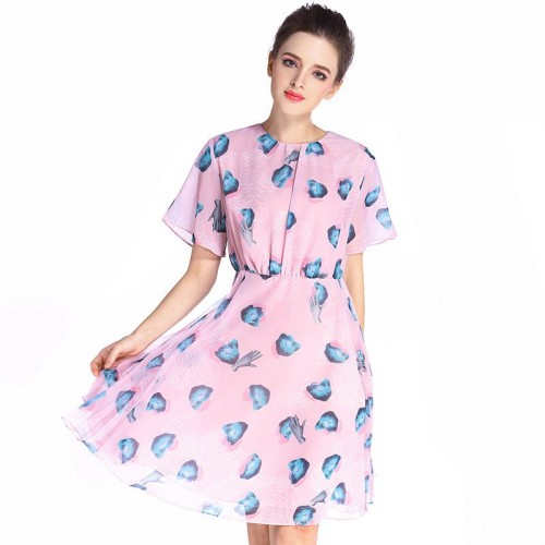 Summer new models in Europe and the US market fashion slim silk dress printed temperament short-sleeved dress