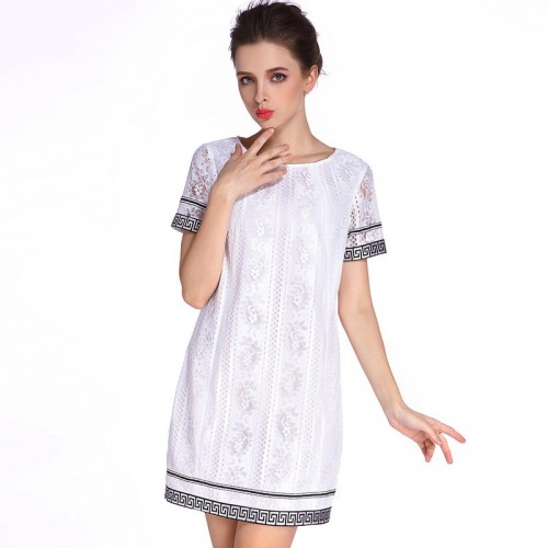 Summer new fashion hollow water-soluble lace skirt stripe round neck short sleeve loose waist dress sweet
