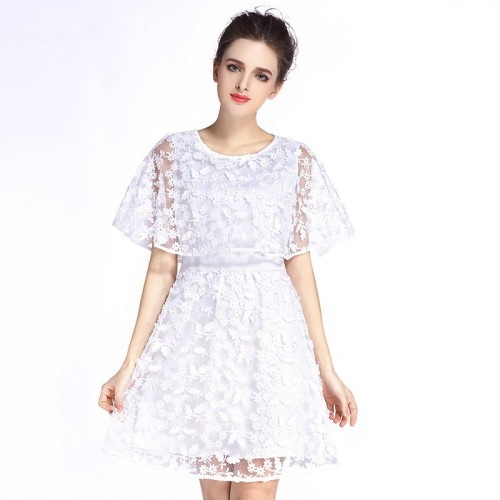 Heart summer European market and the US market fashion casual all match lace stitching loose short-sleeved waist A-shaped dress shape