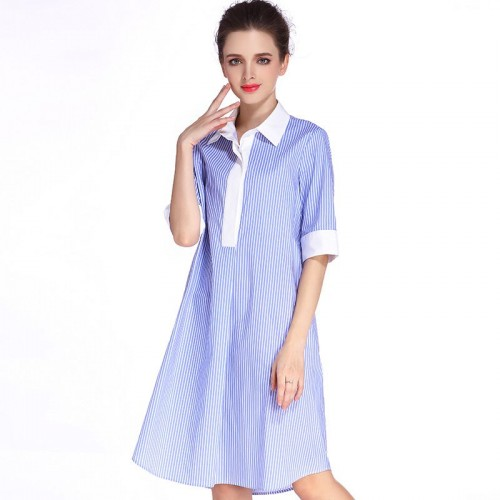 Summer new models in Europe and the US market fashion lapel loose waist slim irregular striped shirt dress