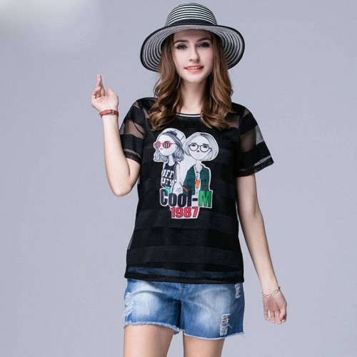 Large size women in Europe and the United States market, new models of overweight ladies slim 200 pounds increase pattern cartoon style short-sleeved t-shirt sexy