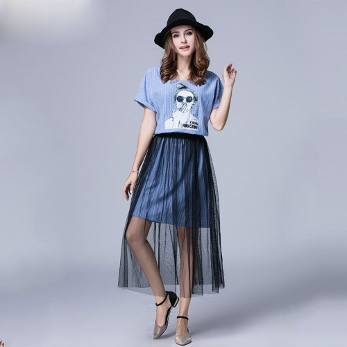Overweight ladies big yards summer new style striped dress yarn skirt two-piece suit