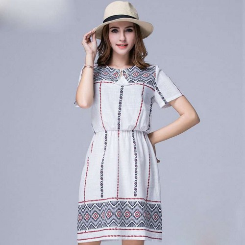 Large size women's summer new models modern pattern overweight ladies cotton short-sleeved dress cotton material low prices