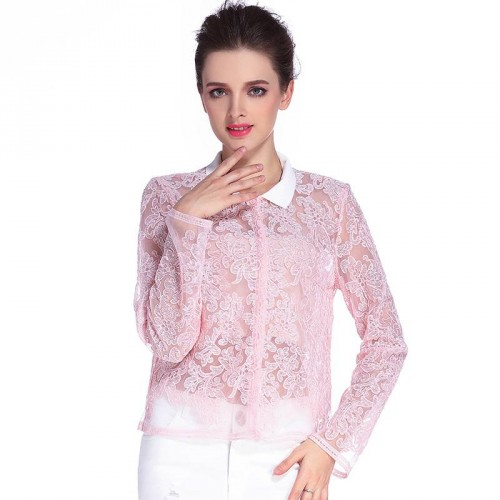 Summer new models in Europe and the US market short models sexy lace shirt jacket lapel fashion