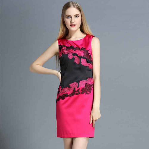 European leg of high-end fashion embroidery round neck sleeveless dress package hip European market and the US market embroidered skirt dress discount