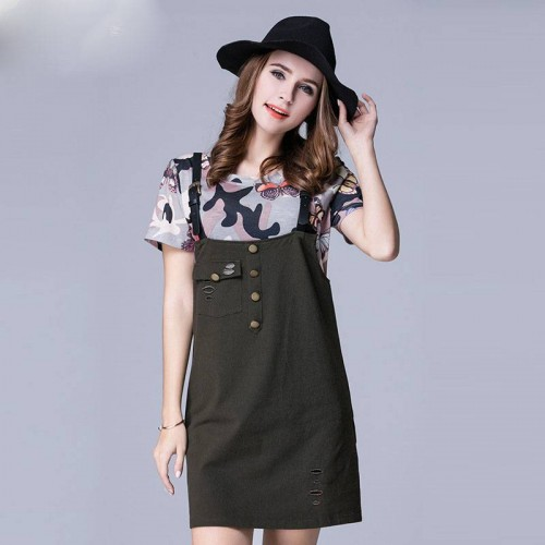 European market and the US market large size women's summer new camouflage T-shirt Dress overweight ladies fashion piece suit
