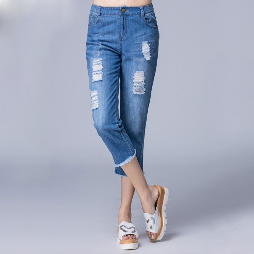 Summer new style jeans European market and the US market overweight ladies big yards slim casual jeans with holes Ms.