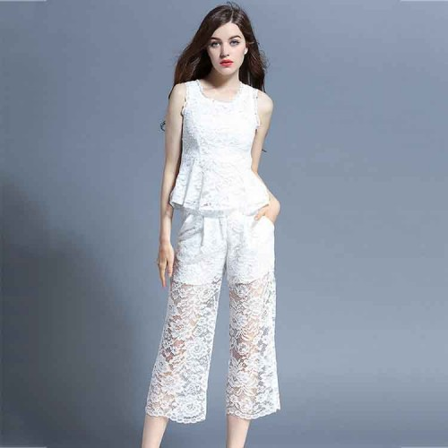 New style fashion shorts wide leg pants suit ladies summer European market and the US market stand modern lace suit