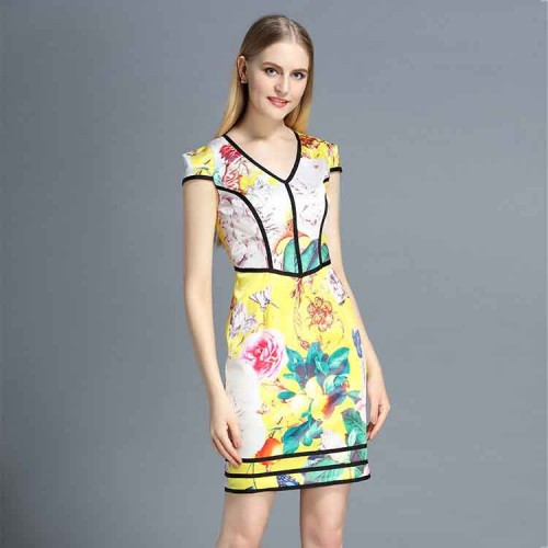 Europe station summer new fashion style sleeveless v-shaped collar dress Europe and the United States market, printing a character style dress skirt discount