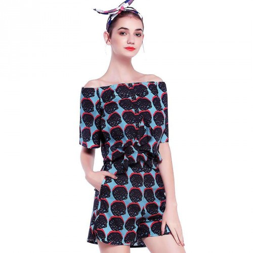 Amoi word shape collar short-sleeved simple strapless tops shorts back PRINTED