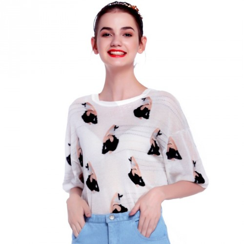 Summer new fashion style V-shaped collar bow casual and simple loose thin sweater
