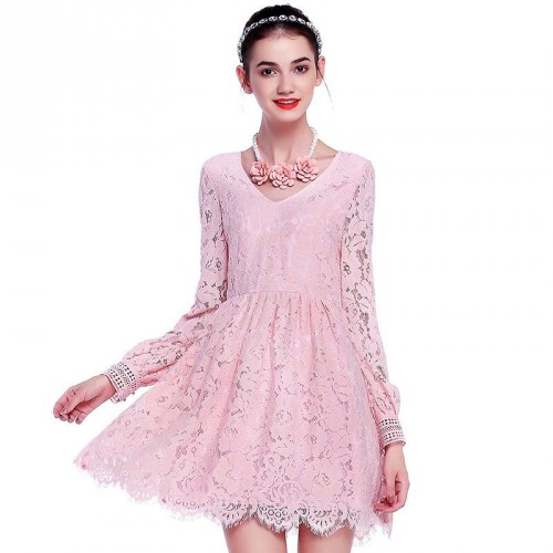 Autumn new models V-shaped collar long-sleeved lace dress retro modern pink loose sleeve lace dress Ms.