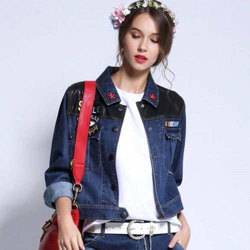 Spring and Autumn new style short-sleeved denim jacket style jeans fashion all match the European market and the US market trend jacket coat Ms.