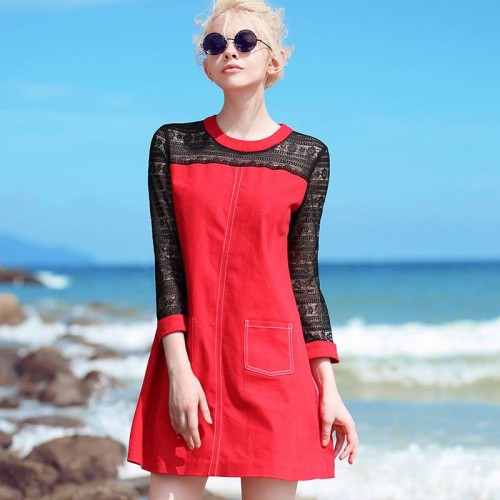 Autumn new models round neck long-sleeved dress stitching lace perspective sexy red dress sexy simple skirt Ms.