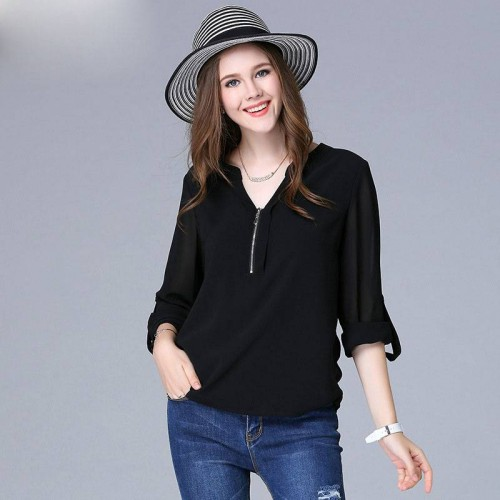 Large size women Autumn casual v-collar chiffon shirt 200 pounds of fertilizer to increase the T-shirt blouses