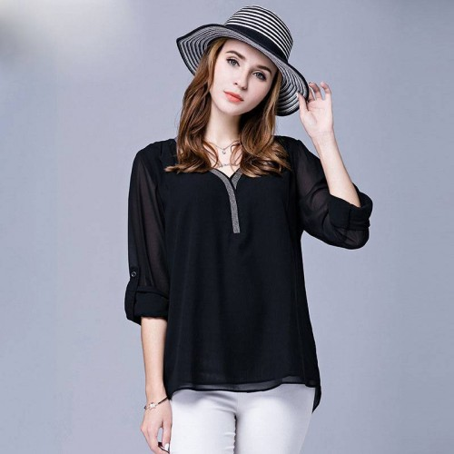 European market and the US market large size women fall new style v-collar long-sleeved chiffon shirt overweight ladies bottoming yarn sexy T-shirts