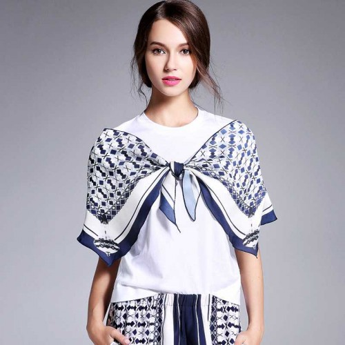 Amoi style loose round neck short sleeve slim lace ribbon embroidery printing t-shirt small shirt