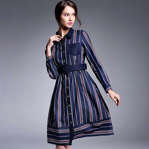 Autumn new models lapel long-sleeved striped dress with belt long style lady fashion big skirt European Grand Prix