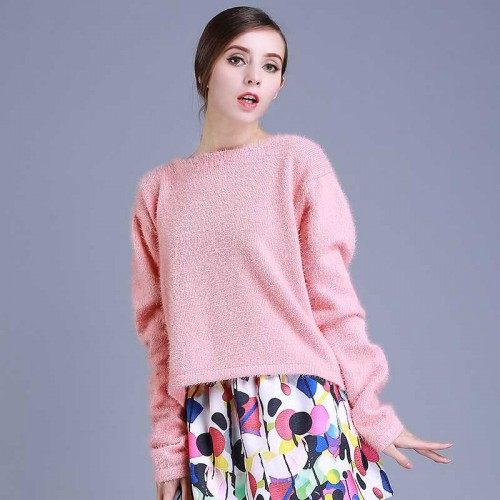 Fall and winter clothes new models in Europe and the US market fashion round neck back button sewing fur sweaters Women's sweater jacket short style