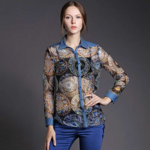 Spring new models in Europe and the US market minimalist fashion printed organza shirt blouse stitching perspective
