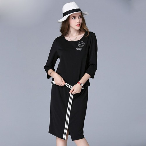 Large size women overweight ladies leisure suit overweight ladies two-piece casual shirt elastic skirts