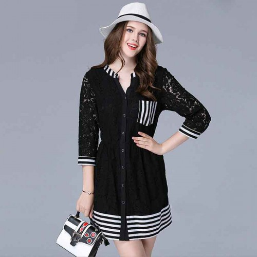 European market and the US market large size women's figure partial fat lady autumn new style striped v-collar lace stitching Slim Sleeve Dress