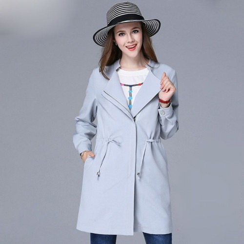 Large size women in Europe and the US market Autumn overweight ladies long style coat lapel overweight Ms. thin section Ms. drawstring coat