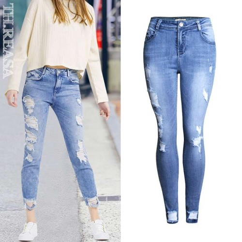 Autumn new models personality frayed jeans Ladies European market and the US market lower prices pencil pants pants Ms.