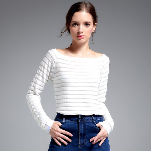 Autumn new models in Europe and the US market fashion solid color all match long-sleeved round neck sweater coat Ms.