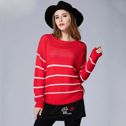 Large size women fall new models overweight ladies loose knit openwork stitching Slim round neck sweater simple