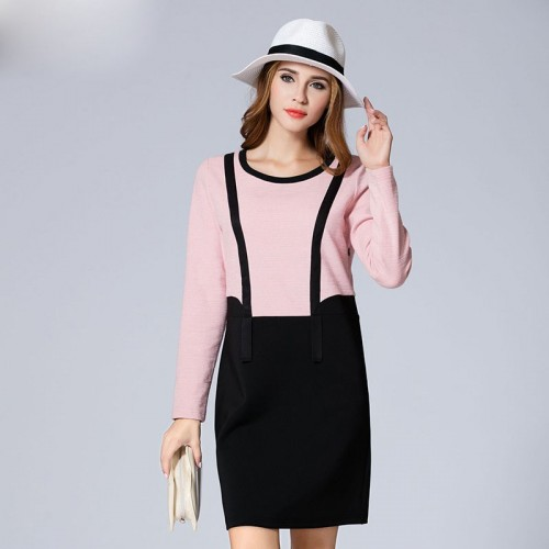 Overweight ladies large size women Autumn new style two-piece long-sleeved knit dress low price good quality