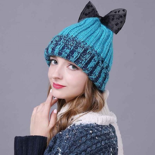 Ms. autumn and winter new style hat knitted hat wool cap warm hat hair ball fast and simple discount sales