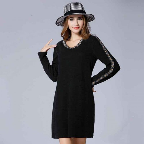 Partial figure large size women fat lady autumn new models elastic slim 200 pounds of fertilizer to increase the long-sleeved knit dress