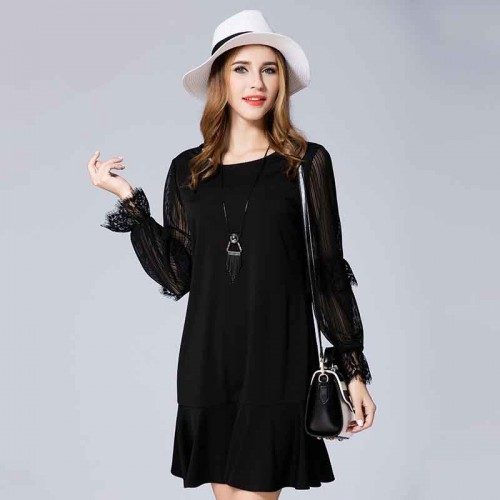 Autumn new models in Europe and the US market figure large size women stitching Slim overweight female Shi Leisi fishtail as slim as long-sleeved dress skirt