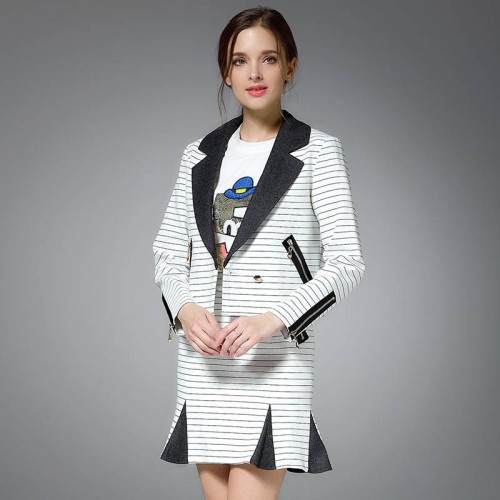 New Fall style black and white striped two-piece style short jacket small package hip skirt suit fashion