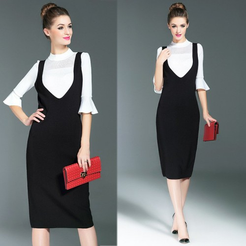 European stations fall and winter fashion elegant braces skirt suit European market and the US market fashion solid sweater skirt suit