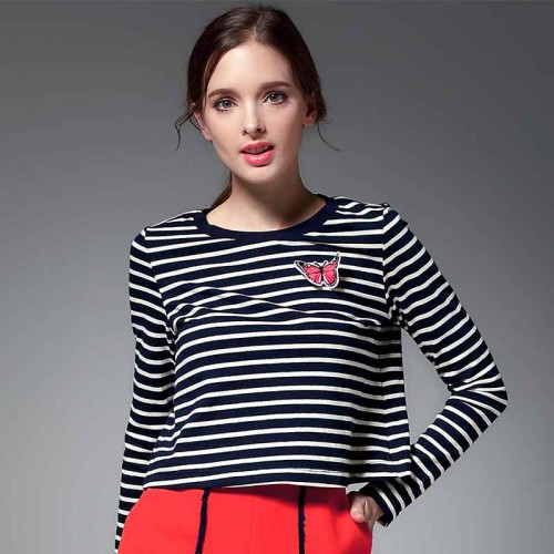 Autumn high collar striped shirt all match long-sleeved cotton t-shirt fashion Slim casual bottoming shirt Ms. Winter
