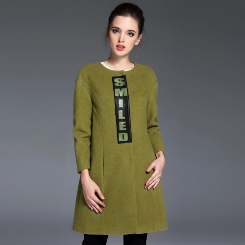 The new autumn and winter styles printed patch wool coat loose material minimalist style long coat sheep wool material sub