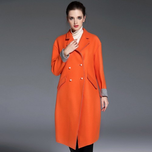 Fall Winter new models double-sided two colors wool material coat Slim slim all match woolen material coat fashion coat