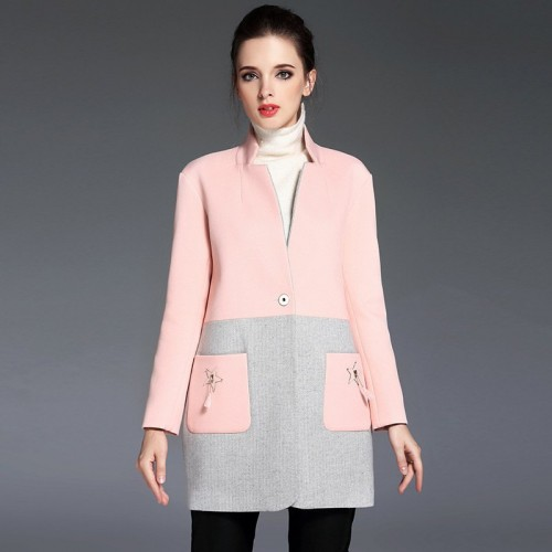 The new autumn and winter style jacket fashion two color composite European market and the US market contracted in paragraph atmosphere all matching jacket Slim