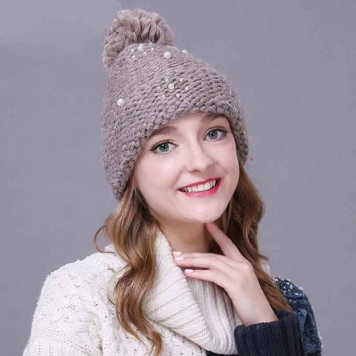 The new hand-set style knit hat wool hat lady lovely autumn and winter days warm autumn and winter hat simple