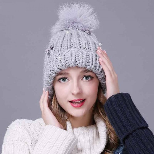 Ms. ear hat all match pearl decoration knitted hat cute fluffy balls warm wool hat